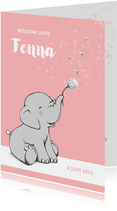 Lief olifantje en wensbloem geboortekaartje
