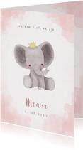 Lief olifantje in waterverf geboortekaartje meisje