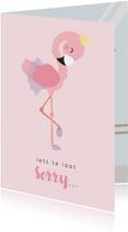 Lief roze kaartje met flamingo ballerina. oeps te laat