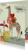 Lief vintage geboortekaartje met giraffe en bloemen