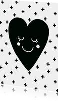Liefde kaart Hart zwartwit - WW