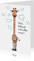Liefde kaarten giraffe met hoofd in de wolken