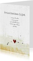 Liefde valentijn kaart prioriteiten lijst