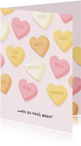 Liefdekaart met leuke snoephartjes en aanpasbare teksten