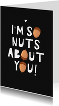 Liefdekaart nuts about you stoer typo eikeltjes