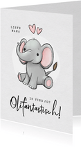 Liefdekaart olifant fantastisch humor kind hartjes