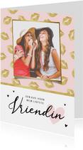 Liefdekaart vriendschap vriendin kusjes hartjes foto
