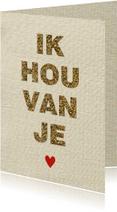Liefdes kaart glitter