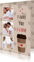 Liefdeskaart met een koffiebeker en hartjes