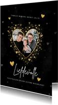 Liefdevolle kerstkaart gouden hartjes, spetters en foto