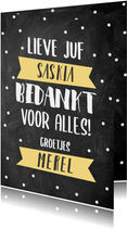 Lieve bedankkaart Juf met krijtbord, typografie en banners