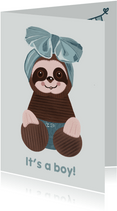 Lieve felicitatiekaart geboorte jongen met luiaard-knuffel