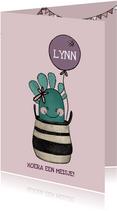 Lieve felicitatiekaart voor geboorte meisje met cactus