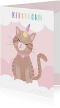 Lieve kaart met een unicorn kat illustratie. Kitticorn