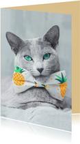 Lieve kaart van grijze kat en ananas
