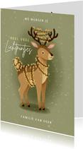 Lieve kerstkaart lichtpuntjes met hert en kerstlampjes