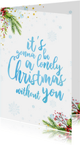 Lieve kerstkaart met waterverf tekst en kerst elementen.