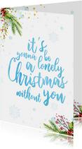 Lieve kerstkaart met waterverf tekst en kerst elementen