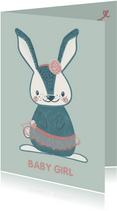 Lieve mintgroene felicitatiekaart konijn in balletpakje