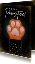 Lieve Stay Pawsitive nieuwjaarskaart met hondenpootje
