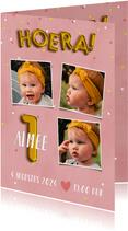 Lieve uitnodiging eerste verjaardag met confetti & ballonnen