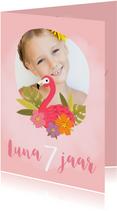 Lieve uitnodiging voor een kinderfeestje met flamingo