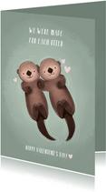 Lieve valentijnskaart illustratie otters en grappige tekst