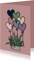 Lieve Valentijnskaart met cactus en hartjesballonnen