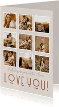 Lieve valentijnskaart met fotocollage in beige tinten