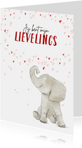 Lieve valentijnskaart met olifant en hartjesregen