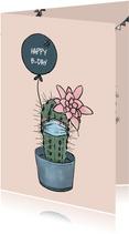 Lieve verjaardagskaart cactus met mondkapje en ballon