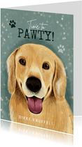 Lieve verjaardagskaart hond, hondenpootjes, Time to Pawty!