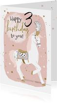 Lieve verjaardagskaart met circuspaardje en kleine sterren