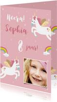 Lieve verjaardagskaart met eenhoorns