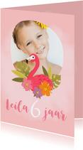 Lieve verjaardagskaart met flamingo voor een meisje
