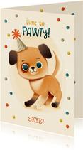Lieve verjaardagskaart met hondje, confetti en feesthoedje