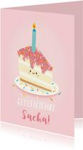 Lieve verjaardagskaart met leuk taartje en aanpasbare naam