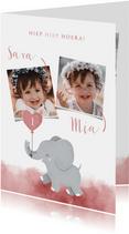Lieve verjaardagskaart voor tweeling meisjes met olifantje