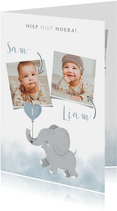 Lieve verjaardagskaart voor tweeling met olifantje en foto's