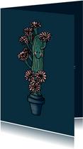 Lieve zomaar-kaart met cactus en roze bloemen
