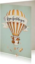 Luchtballon in wit met goud met kerstman en rendiertjes