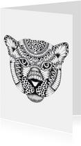 Luipaard zwart/wit illustratie
