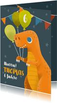 Lustige Dino-Glückwunschkarte zum Geburtstag