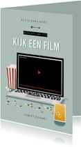 Make-A-Wish isolatie tip kijk een film met laptop blauw