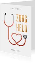 Make-A-Wish kaartje bedankt zorgheld stethoscoop hart