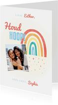 Make-A-Wish kaartje houd hoop met regenboogje en hartjes