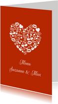 Menu huwelijk iconenhart koper