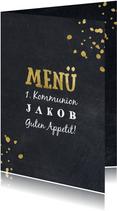 Menükarte Kommunion Kreidetafel & Goldoptik