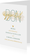 Menükarte zur Hochzeit 'Bon appetit' im Goldlook mit Herzen
