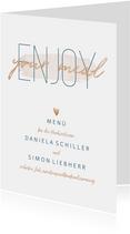 Menükarte zur Hochzeit 'Enjoy your meal' im Goldlook
